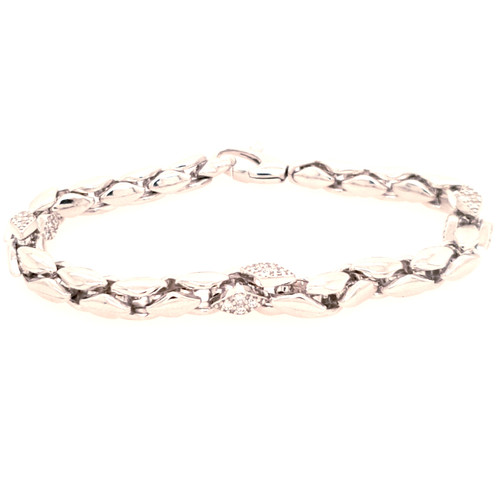 Just Jane Silver Bracelet with Diamond Shaped CZ Detailing