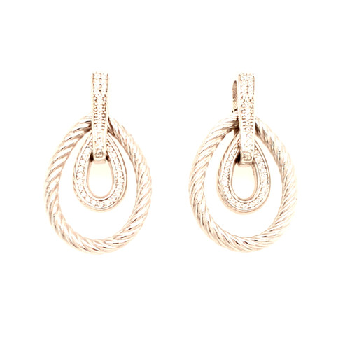 Just Jane Silver Rope CZ Pear Drop Earrings