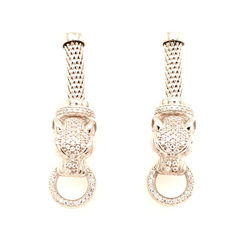 Just Jane Silver Panther Head Earrings