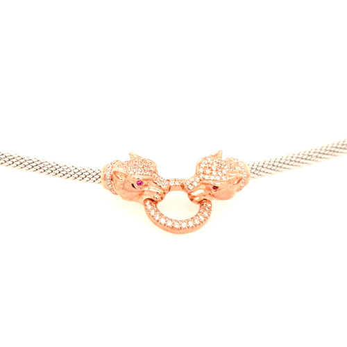 Just Jane Silver & Rose Gold CZ Double Panther Necklace