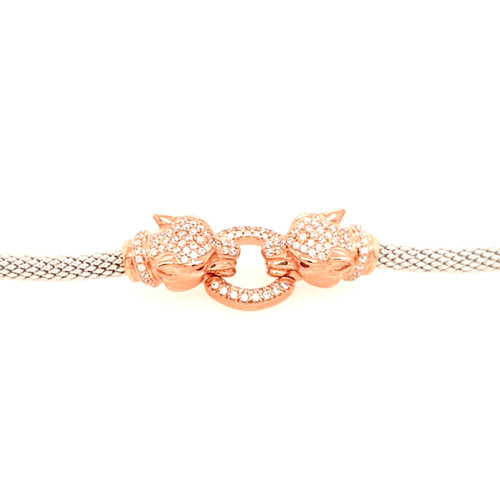 Just Jane Silver & Rose Gold CZ Double Panther Bracelet