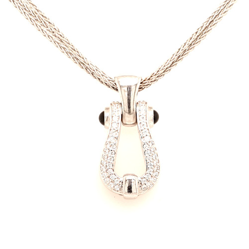 Just Jane Silver & CZ Horseshoe Style Pendant on Triple Row Chain