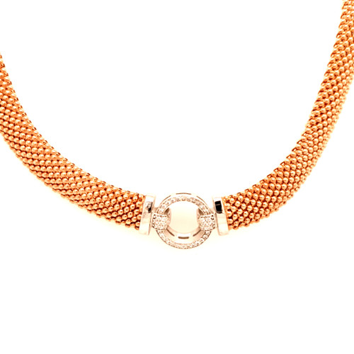 Just Jane Silver, Rose Gold & CZ Circle Pendant Necklace