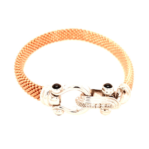 Just Jane Rose Gold Plated Bracelet with Silver CZ Buckle Design