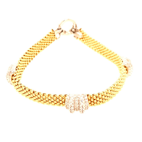 Just Jane Yellow Gold Plated Bracelet with Silver CZ Detailing