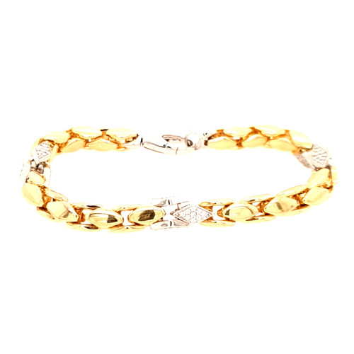Just Jane Yellow Gold Plated Bracelet with Diamond Shaped Silver CZ Detailing