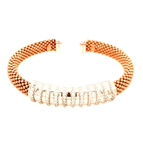 Just Jane Rose Gold Plated Bangle with Silver CZ Centre Column