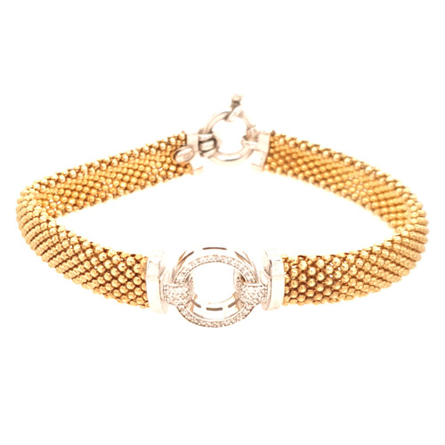 Just Jane Gold Plated Bracelet with Silver & CZ Circle Design