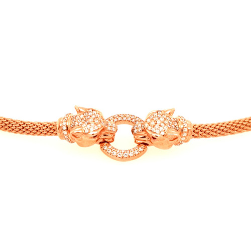 Just Jane Rose Gold Plated Silver Bracelet with CZ Double Panther & Circle