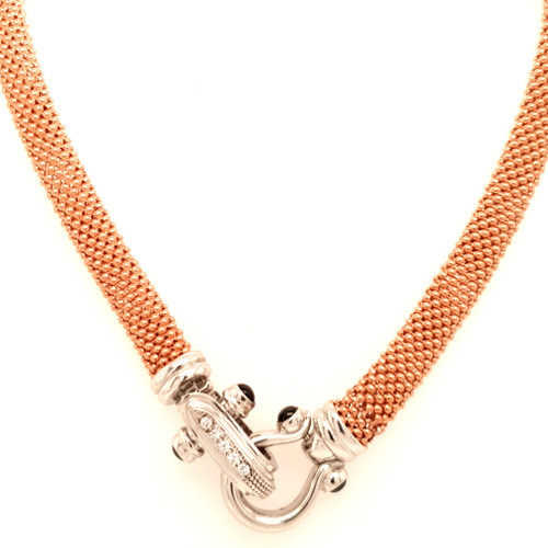 Just Jane Rose Gold Plated Necklace with Silver CZ Buckle Design