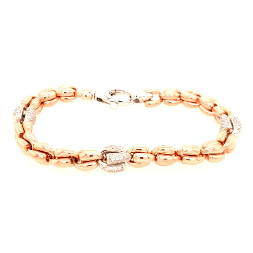 Just Jane Rose Gold Plated Silver Bracelet with Silver CZ Detailing