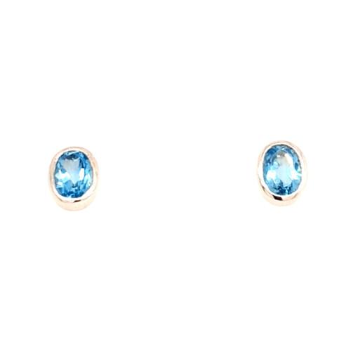 9ct White Gold Oval Topaz Earrings
