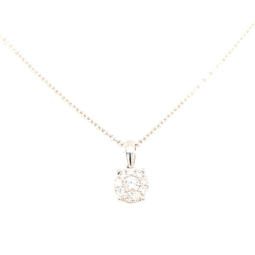 18ct White Gold Illusion Set 0.19ct Diamond Pendant