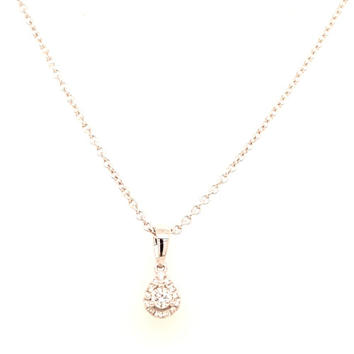 18ct White Gold 0.10ct Small Pear Diamond Pendant