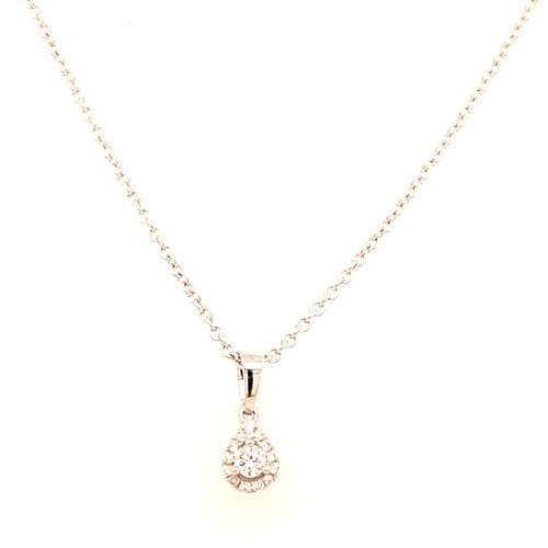 18ct White Gold 0.10ct Small Pear Diamond Pendant