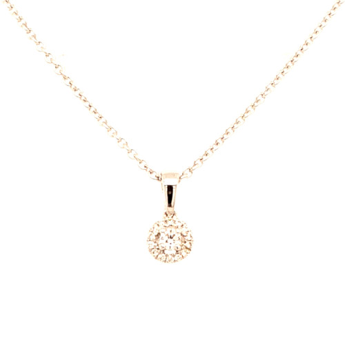 18ct White Gold 0.10ct Round Diamond Cluster Pendant