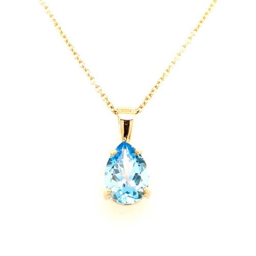 9ct Yellow Gold Pear Shaped Blue Topaz Pendant diamond ring engagement ring belfast wedding ring eternity ring diamond jewellery