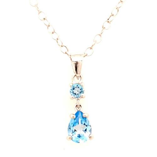 9ct White Gold Blue Topaz Drop Pendant diamond ring engagement ring belfast wedding ring eternity ring diamond jewellery