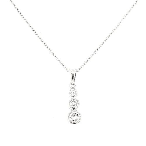 18ct White Gold 0.40ct Rub Over Set Diamond Pendant diamond ring engagement ring belfast wedding ring eternity ring diamond jewellery