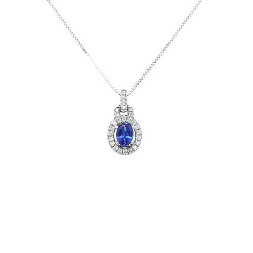 18ct White Gold 0.71ct Tanzanite & 0.35ct Diamond Pendant diamond ring engagement ring belfast wedding ring eternity ring diamond jewellery