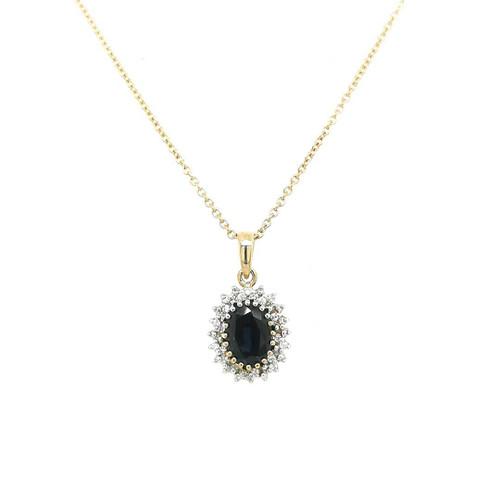 9ct Yellow Gold Oval Sapphire Pendant with Diamond Halo diamond ring engagement ring belfast wedding ring eternity ring diamond jewellery