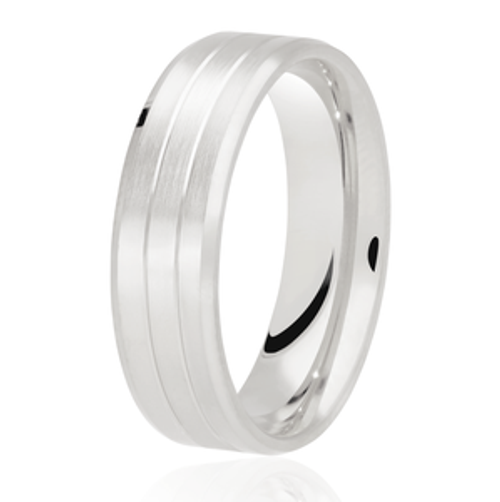 Milgrain Centre Line Patterned Wedding Ring