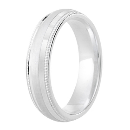 Milgrain Edge Satin Centre Patterned Ring