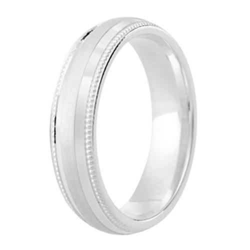 Milgrain Edge Satin Centre Patterned Ring