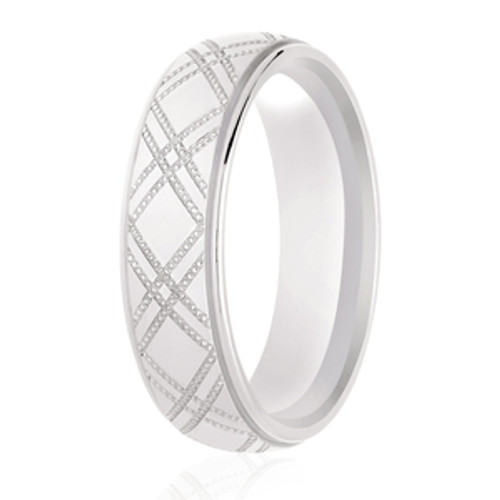 Chequered Milgrain Pattern and Rolled Edges Patterned Ring