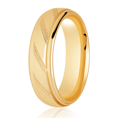 Polished Ring with Fine Milgrain Diagonal Pattern Lines