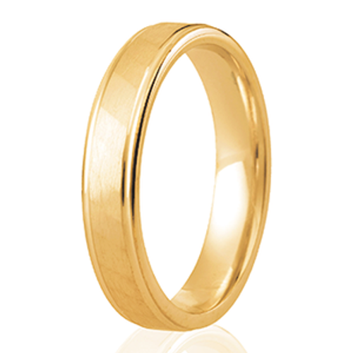 Satin Finish Wedding Ring with Diagonal Faceted Soft Rib Detail