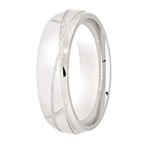 Polished Wedding Ring with Abstract Fine Milgrain Lines