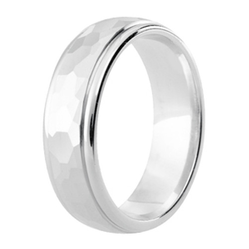 Diamond Cut Hammered Finish Patterned Wedding Ring