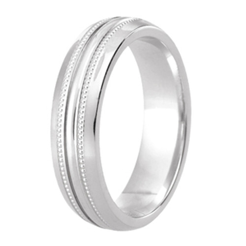 Milgrain Patterned Wedding Ring with Half Round Diamond Cut Centre