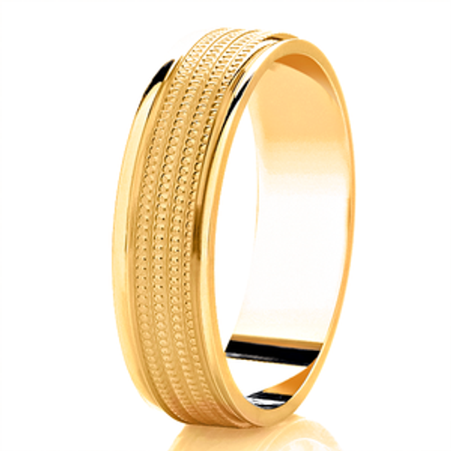 Polished Wedding Ring with Parallel Milgrain Lines and Rolled Edges