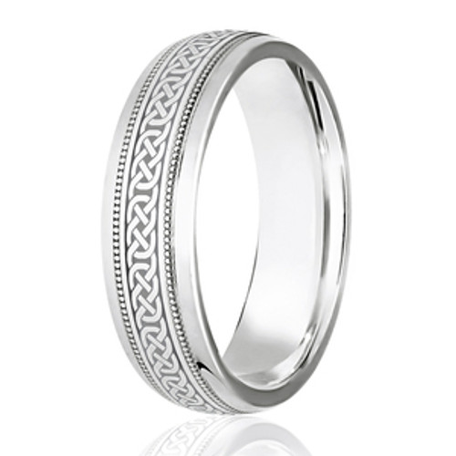 Milgrain Edged Celtic Weave Wedding Ring