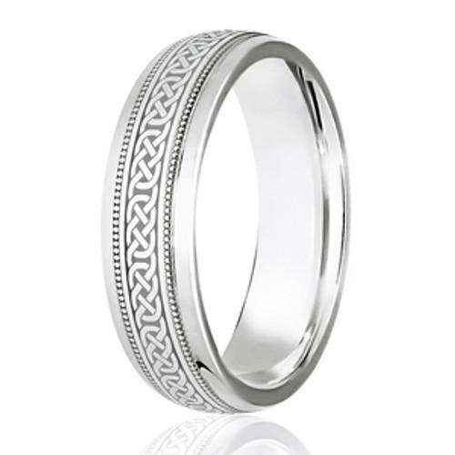 Milgrain Edged Celtic Weave Wedding Ring