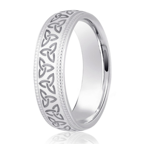 Milgrain Edged Trinity Knot Patterned Wedding Ring