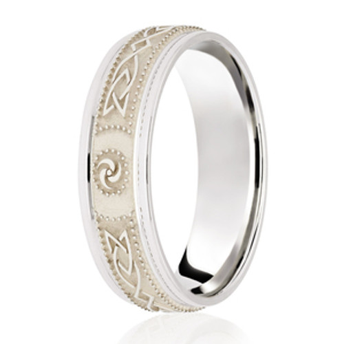 Textured Patterned Celtic Wedding Ring