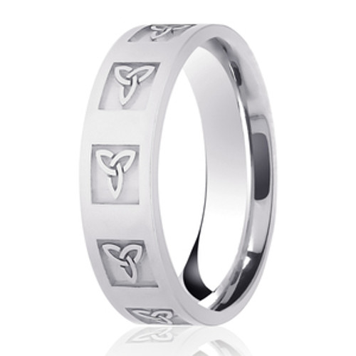 Embossed Trinity Knot Patterned Wedding Ring