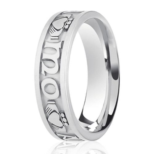 'Mo Anam Cara' Embossed Patterned Wedding Ring