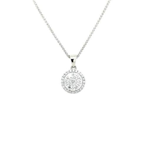 18ct White Gold 0.50ct Round Cluster Diamond Pendant diamond ring engagement ring belfast wedding ring eternity ring diamond jewellery