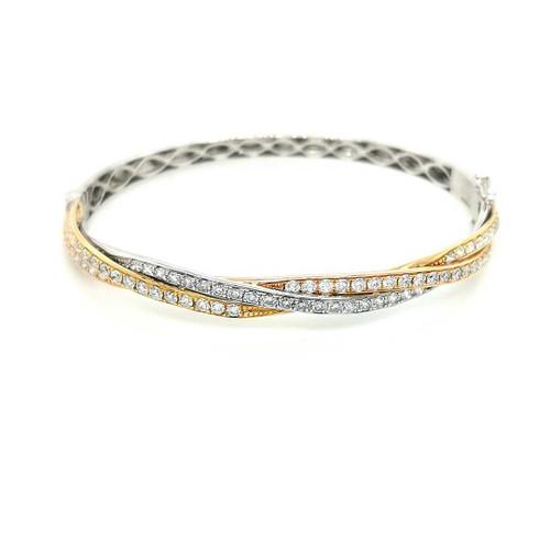 18ct Yellow, Rose & White Gold 1.81ct Diamond Twist Bangle diamond ring engagement ring belfast wedding ring eternity ring diamond jewellery