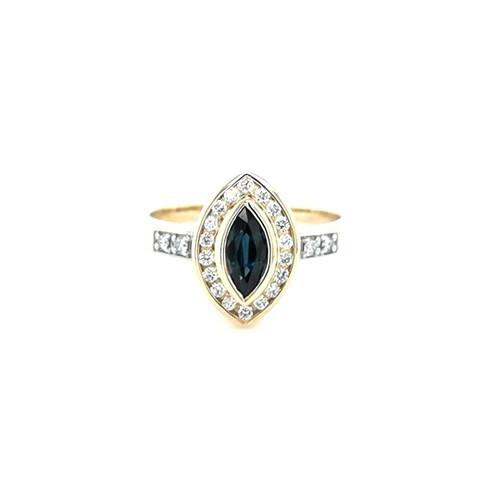 9ct Yellow Gold 0.63ct Sapphire & 0.20ct Diamonds Cluster Ring diamond ring engagement ring belfast wedding ring eternity ring diamond jewellery