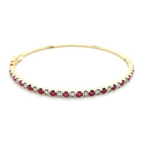 9ct Yellow Gold 1.70ct Ruby & 1.27ct Diamond Bangle diamond ring engagement ring belfast wedding ring eternity ring diamond jewellery