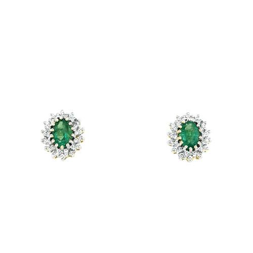 9ct Yellow Gold 1.00ct Emerald & 0.20ct Diamond Cluster Earrings diamond ring engagement ring belfast wedding ring eternity ring diamond jewellery