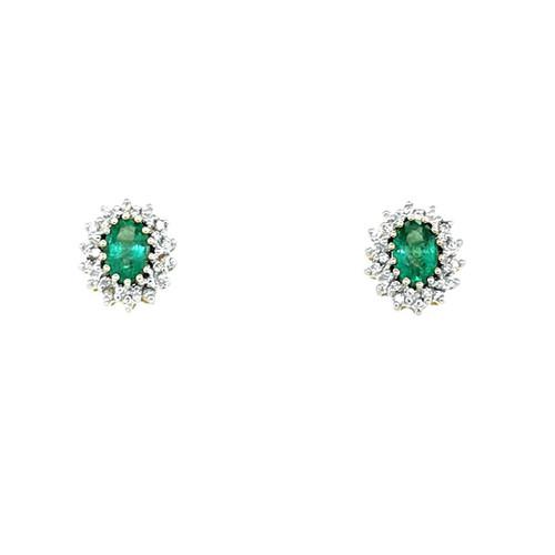 9ct Yellow Gold 1.00ct Emerald & 0.20ct Diamond Earrings diamond ring engagement ring belfast wedding ring eternity ring diamond jewellery