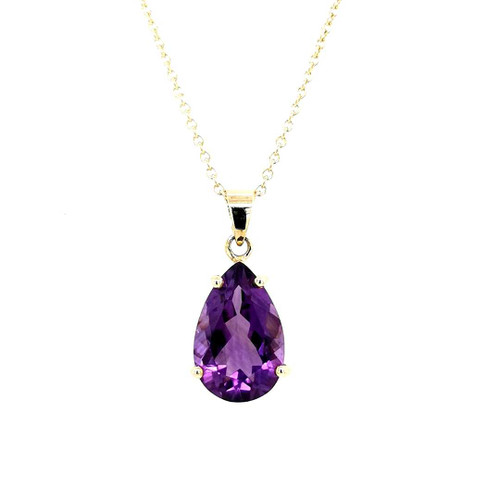 9ct Yellow Gold Pear Shaped Amethyst Pendant diamond ring engagement ring belfast wedding ring eternity ring diamond jewellery