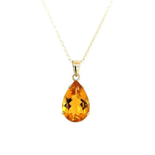 9ct Yellow Gold 3.72ct Pear Citrine Pendant diamond ring engagement ring belfast wedding ring eternity ring diamond jewellery