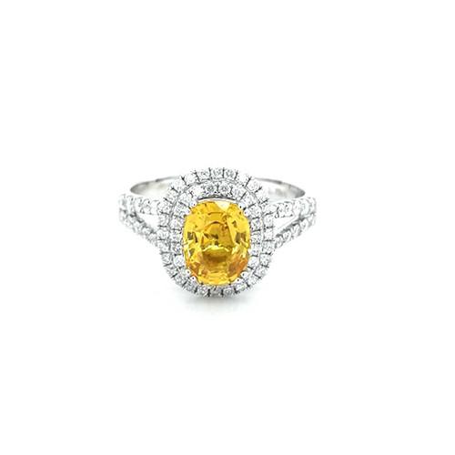 18ct White Gold 1.79ct Yellow Sapphire & 0.58ct Diamond Ring diamond ring engagement ring belfast wedding ring eternity ring diamond jewellery